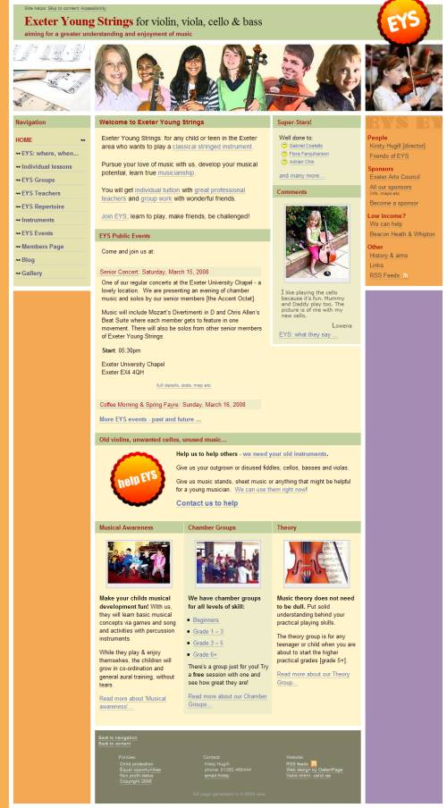 Exeter Young Strings website